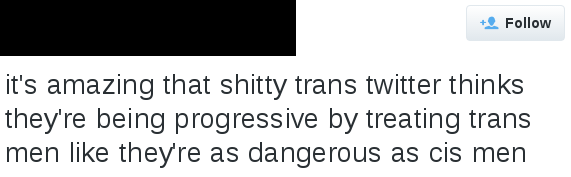 "tweet reads ""it's amazing that shitty trans twitter thinks they're being progressive by treating trans men like they're as dangerous as cis men"""