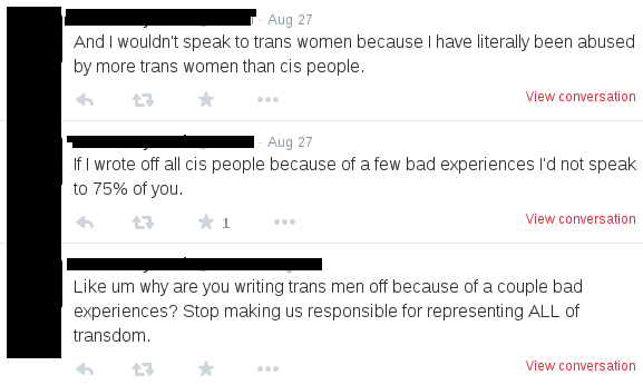"tweet reads ""And I wouldn't speak to trans women because I have literally been abused by more trans women than cis people."""